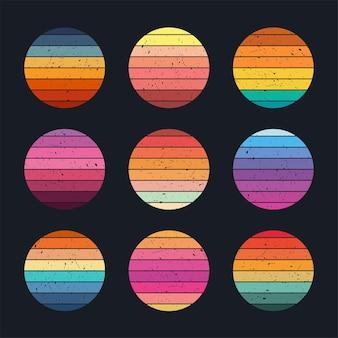 Collection de coucher de soleil rétro style années 80 avec texture effet grunge