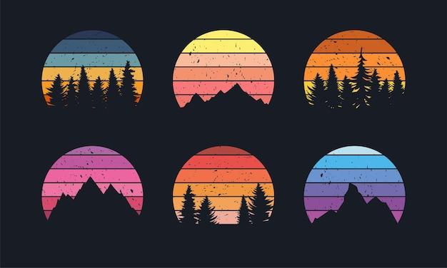 Collection de couchers de soleil rétro pour bannière ou impression style années 80 avec montagnes et arbres forestiers
