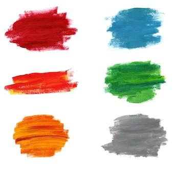 Collection de coup de pinceau abstrait isolé illustration vectorielle. ensemble de pinceaux. modèle de frottis acrylique. éclaboussure de grunge.