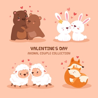 Collection de couple animal mignon saint valentin