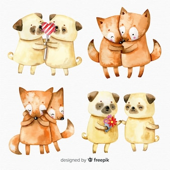Collection de couple d'animaux aquarelle saint valentin