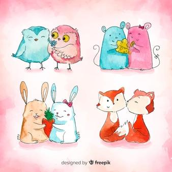 Collection de couple d'animaux aquarelle saint valentin