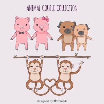 Collection de couple d'animaux de dessin animé saint valentin