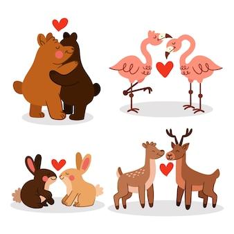 Collection de couple d'animaux dessinés à la main pour la saint-valentin