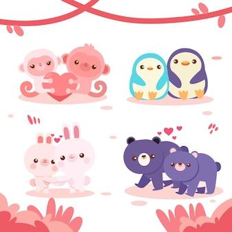 Collection de couple d'animaux mignons pour la saint-valentin
