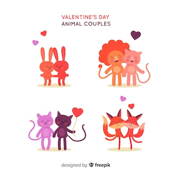 Collection de couple d'animaux de saint valentin dessinés à la main