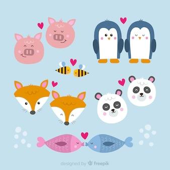 Collection de couple d'animaux de la saint-valentin dessinés à la main