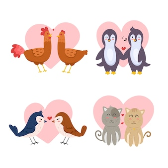 Collection de couple d'animaux de la saint-valentin dessinés à la main