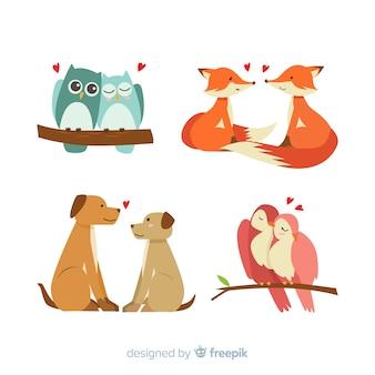 Collection de couple d'animaux saint valentin