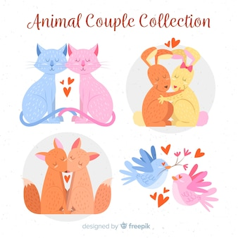Collection de couple d'animaux saint valentin