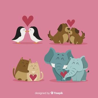 Collection de couple d'animaux de la saint-valentin