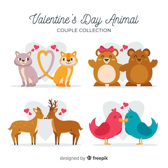 Collection de couple d'animaux de la saint-valentin