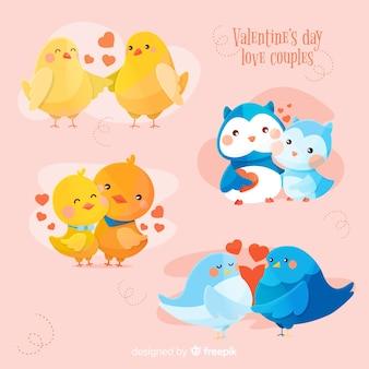 Collection de couple d'animaux de la saint valentin