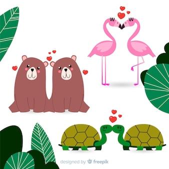 Collection de couple d'animaux sauvages valentine