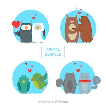 Collection de couple d'animaux valentine