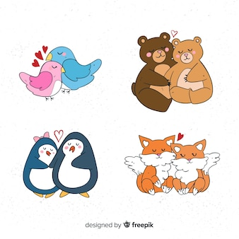 Collection de couple d'animaux valentine