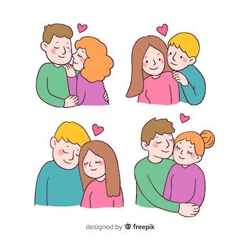 Collection de couple de dessin animé saint valentin