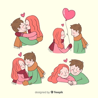 Collection de couple de dessin animé valentine