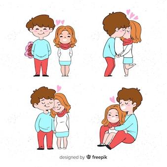 Collection de couple de dessin animé valentine
