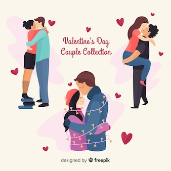 Collection de couple embrassant valentine