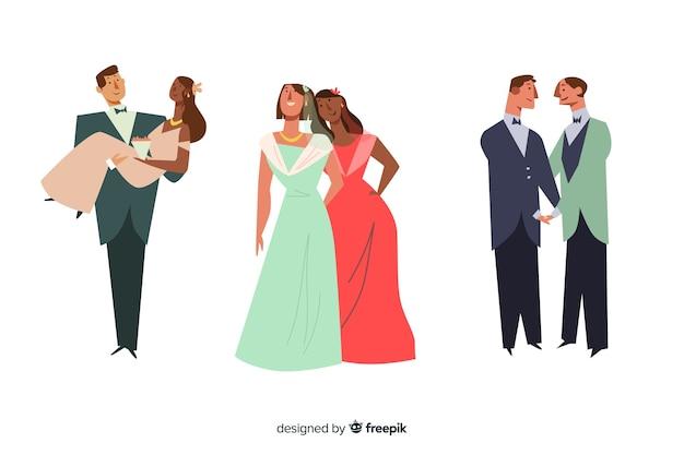 Collection de couple de mariage au design plat