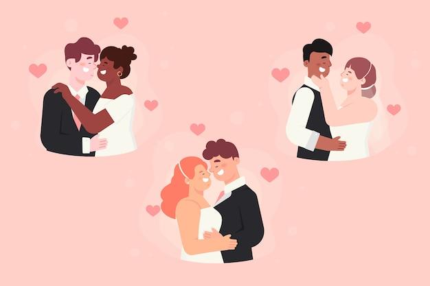 Collection de couple de mariage design plat