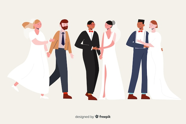 Collection de couple de mariage dessiné à la main