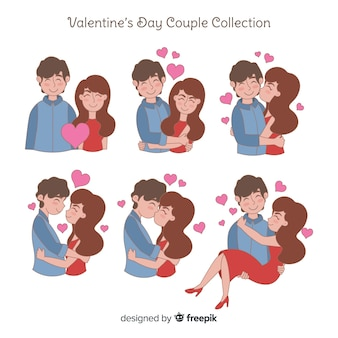 Collection de couple saint valentin dessiné à la main