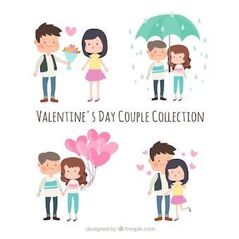 Collection de couple saint-valentin dessinés à la main