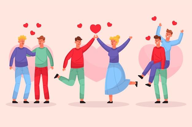 Collection de couple de saint valentin dessinés à la main