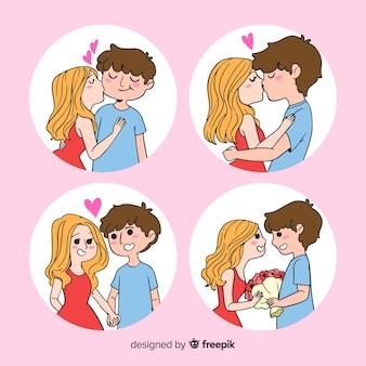 Collection de couple valentine à l'intérieur du cercle