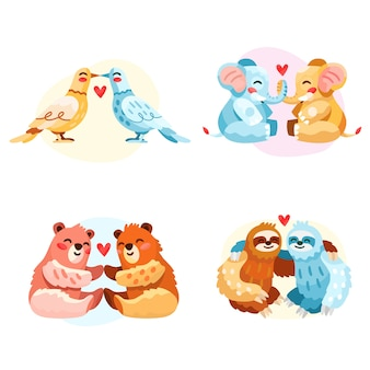 Collection de couples d'animaux dessinés à la main