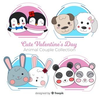 Collection de couples d'animaux mignons pour la saint valentin