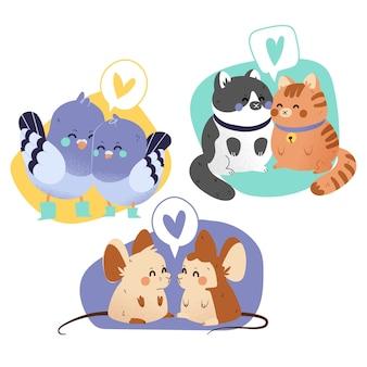 Collection de couples d'animaux mignons