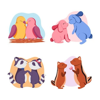 Collection de couples d'animaux romantiques mignons