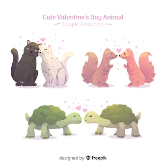 Collection de couples d'animaux saint valentin