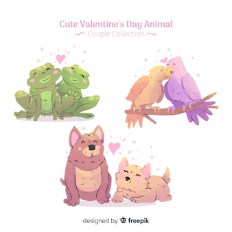 Collection de couples d'animaux saint valentin