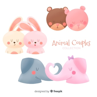 Collection de couples d'animaux de la saint-valentin