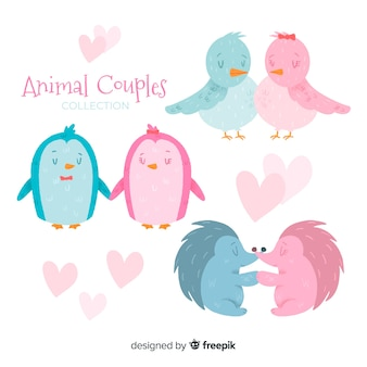 Collection de couples d'animaux de la saint-valentin