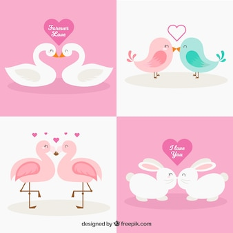 Collection de couples animaux valentine jour plat