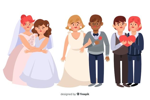 Collection de couples de mariage design plat