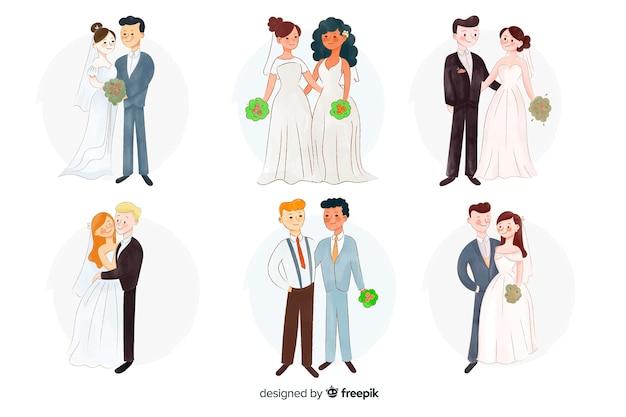 Collection de couples de mariage watecolor