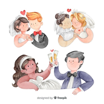 Collection de couples de mariage watecolor