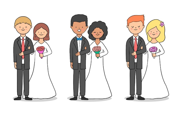 Collection de couples de mariage