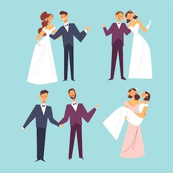 Collection de couples de mariage