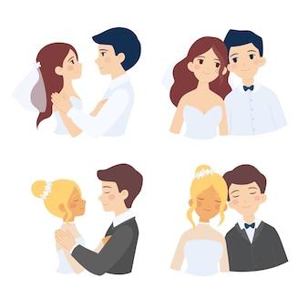 Collection de couples mariés mignons