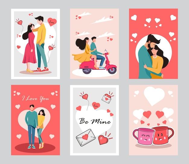 Collection de couples en rendez-vous romantique. carte de dessin animé plat.