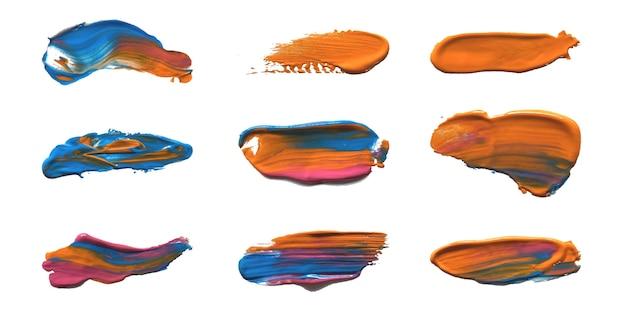 Collection de coups de pinceau en acrylique peint à la main