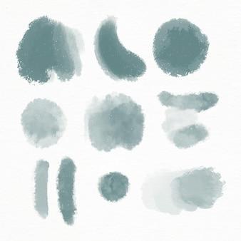 Collection de coups de pinceau aquarelle peinte à la main