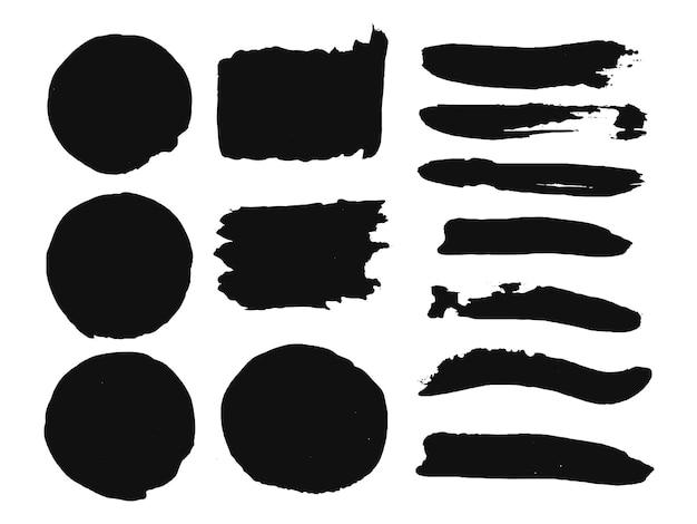 Collection de coups de pinceau aquarelle peinture à la main noire, éléments d'effet grunge